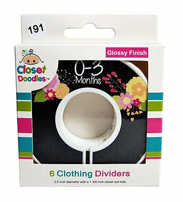 Closet Doodles C191 Flowers Girl Baby Closet Dividers Set of 6 Fits 1.25inch Rod