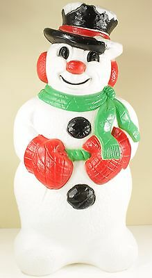"""30"""" Grand Venture Snowman Plastic Blow Mold With Top Hat Scarf Lighted Christmas"""