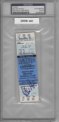 NOLAN RYAN SIGNED RANGERS 300th WIN GAME 7-31-90 FULL TICKET PSA/DNA SLABBED