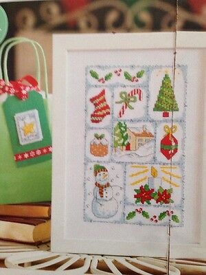 Christmas Patchwork Sampler Cross Stitch Chart  and gift tag