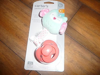 New Carter's girls Baby Pacifier Clip pretty owl Plush Clip with Ribbon NWT