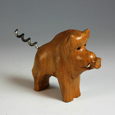 Vintage French corkscrew of a Carved Pig Glass Eyes