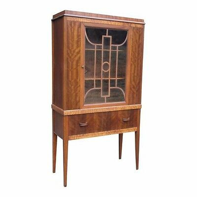 Antique 1930s Art Deco Curio China Cabinet Hutch Fretwork Glass Door Walnut