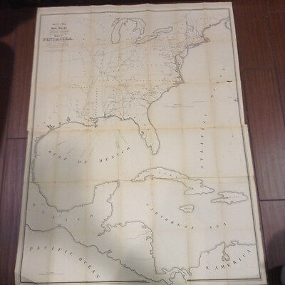 Antique 1847 Skeleton Map  Railroads Completed and In Progress Harbor Pensacola