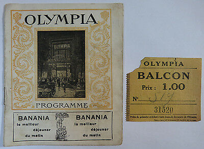 Olympia Music Hall Theatre Program with Balcony Ticket Stub, Paris France 1918