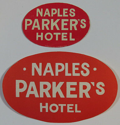 Two Vintage Luggage Labels - Naples Parker's Hotel, Naples Italy