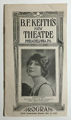 "B.F. Keith's New Theatre Vintage Program, ""The Choir Rehearsal"", Phila. PA, 1922"