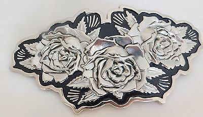 Famous Stars and Straps Roses Belt Buckle Silvertone Black