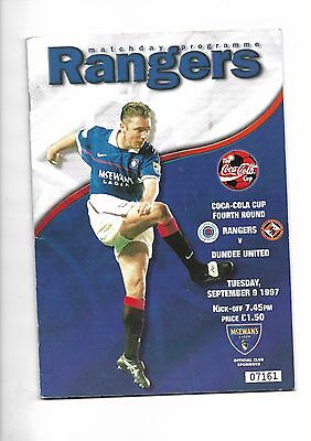 1997/8 Rangers v Dundee United (Scottish Coca Cola Cup)  football programme