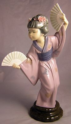 """Lladro Spain Geisha Girl Figurine  """"MADAME BUTTERFLY"""" With Fans #4991Retired"""