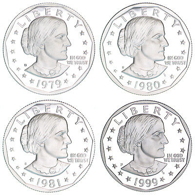 1979 1980 1981 S 1999 P Susan B Anthony Gem Proof Dollar Run US 4 Coin Set