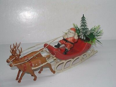"""11-1/2"""" Vintage Soft Plastic Santa Claus With 2 Reindeer In Sleigh With Tree"""