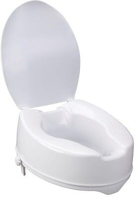 Raised Toilet Seat With Lock And Lid White 6-Inch Elevated Bathroom Seat