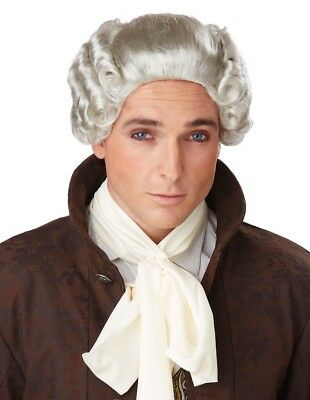 18th Century Peruke Grey Judge Colonial Lawyer Barrister Men Costume Wig