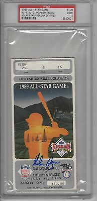 Nolan Ryan Signed Rangers 1989 All Star Game Win Ticket Graded Psa/dna 2 Slabbed
