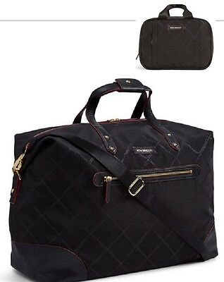 NWT Vera Bradley Preppy Poly Travel Duffel Bag and Organizer Black Luggage Large