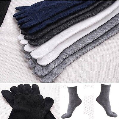 Unisex Men Womens Socks Pure Color Sports Five Finger Socks Toe Cotton Socks Fad