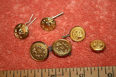 6 Small Vintage Military Brass Buttons 2 have P on front