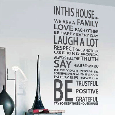 Family House Rules Love Art Wall Quote Stickers, Wall Decals, Words Lettering p2