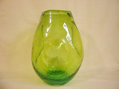 "WOW! Blenko 10"" Chartreuse Green Seeded Bubble Pinched 921 Winslow Anderson Vase"