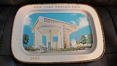 1964-65 New York Worlds Fair Metal Candy Dish Ash Tray *heliport* Top Of Fair !!