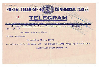 1909 Postal Telegraph Commercial Cable Telegram Lumber Order