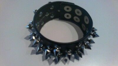Mens Studded Black Leather Wristband - Heavy Metal Spikes -  Punk Rock