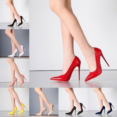 Womens Pointy Toe Patent Leather High Heels Stiletto Pump Party Prom Dress Shoes