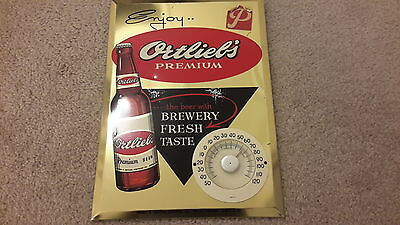 Vintage Ortleib Advertising Thermometer Vintage Beer tin Sign
