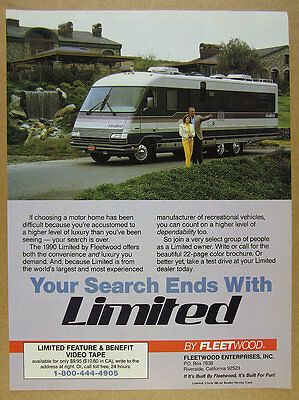 1990 Fleetwood Limited Motorhome RV color photo vintage print Ad