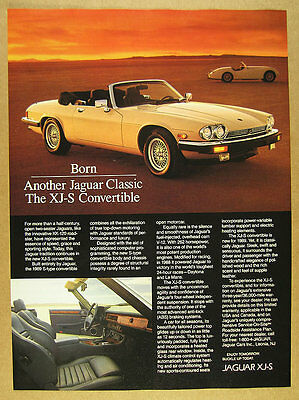 1989 Jaguar XJ-S XJS Convertible color photo vintage print Ad
