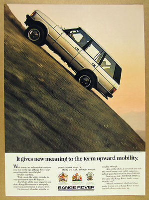 1987 Range Rover Classic 'Upward Mobility' color photo vintage print Ad