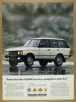 1987 Range Rover Classic 'Remember the $34,000' color photo vintage print Ad