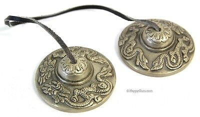 "Tibet Chanting Puja  Cymbals Indian White Metal ""dragon"" Mini"