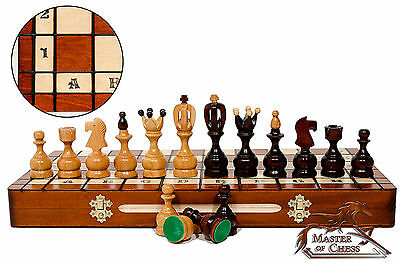 "STUNNING ""ROYAL"" 50x50cm CHERRY WOODEN CHESS SET QUALITY INLAID CHESSBOARD"