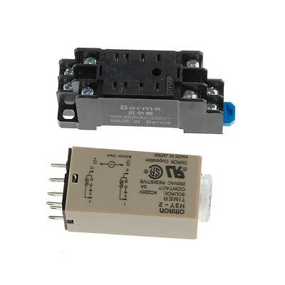 AC H3Y-2 220V Power On Time Delay Relay Solid State Timer 1.0~30 Min Socket Base