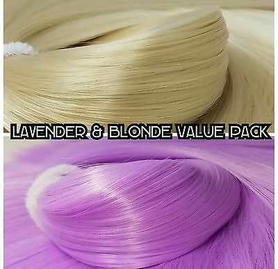 Blonde & Lilac Purple Value Pack Nylon Doll Hair Reroot Barbie Monster High