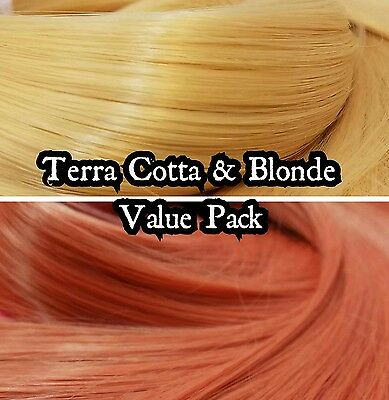 Blonde &Terra Cotta Orange Value Pak Nylon Doll Hair Reroot Monster High Barbie