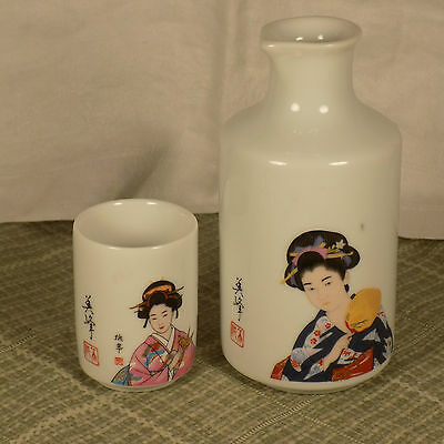 Vintage Porcelain Oriental Sake Pourer And Cup With Geisha Woman