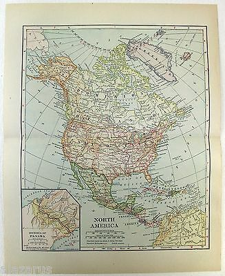 Original 1914 Map of North America by L. L Poates