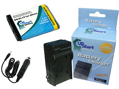 Battery + Charger + Car Plug + EU Adapter for Nikon Coolpix S4100, S6500, S5200