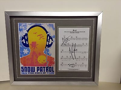 Snow Patrol Hand Signed/Autographed Songsheet with a Photograph with COA