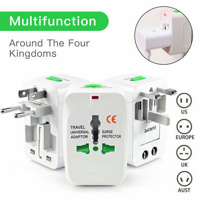 Universal Travel AC Power Charger Adapter Plug Converter 2 USB Port AU UK US EU