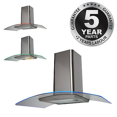 SIA CPE91SS 90cm 3 Colour LED Curved Glass St/Steel Cooker Hood Extractor Fan