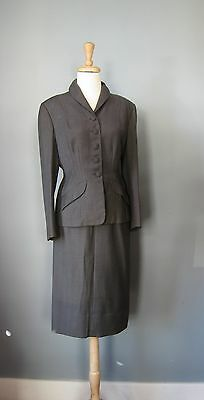 Vintage 50s Suit Medium Gray Tailored Skirt and Jacket Modern Size Small