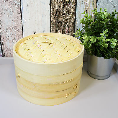 """Bamboo 2 Tier 8"""" Steamer Traditional Food With Lid Wooden Vegetable Dim Sum Rice"""