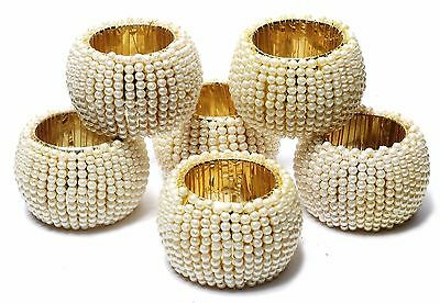 Pearl Beaded Home Decor Napkin Rings Beige Napkin Ring Holders 6 Pcs Set