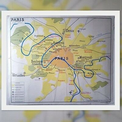 """French School Map Poster """"Paris & Regions : Industries and Agricultures"""" Vintage"""