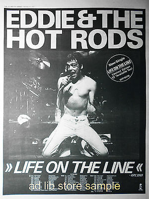 "EDDIE & THE HOT RODS - LIFE ON THE LINE TOUR, UK 16"" x 12"" ADVERT/AD 1978"
