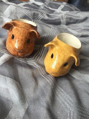 Quail Pottery Guinea Pig Egg Cups Light And Dark X2 Lovely